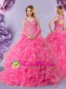 Straps Sleeveless Organza Vestidos de Quinceanera Lace Lace Up