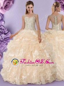 Champagne Ball Gowns Organza Straps Sleeveless Beading and Ruffles Floor Length Zipper Sweet 16 Quinceanera Dress