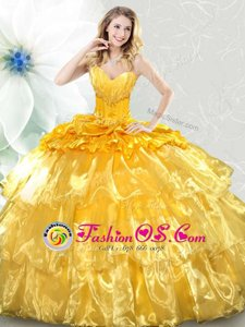 Ideal Gold Organza Lace Up Sweetheart Sleeveless Sweet 16 Dresses Ruffled Layers and Sequins