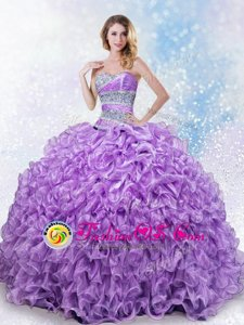 Lavender Ball Gowns Sweetheart Sleeveless Organza Floor Length Lace Up Beading and Ruffles 15 Quinceanera Dress