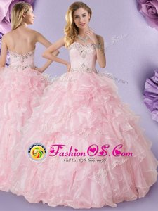 Glamorous Sleeveless Floor Length Beading and Ruffles Lace Up 15 Quinceanera Dress with Baby Pink