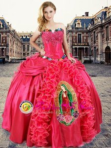 Latest Floor Length Lace Up 15th Birthday Dress Coral Red and In for Military Ball and Sweet 16 and Quinceanera with Beading and Appliques and Ruffles