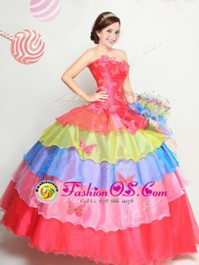 Organza Strapless Sleeveless Lace Up Appliques and Ruffled Layers 15th Birthday Dress in Multi-color