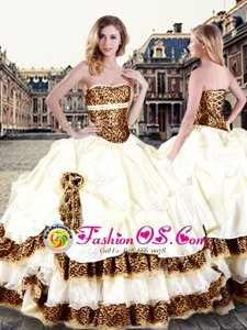 Champagne Sleeveless Floor Length Pick Ups and Hand Made Flower Lace Up Sweet 16 Quinceanera Dress