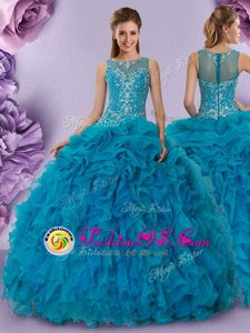 Scoop Teal Ball Gowns Beading and Ruffles Quince Ball Gowns Zipper Organza Sleeveless Floor Length
