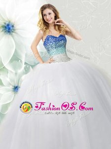 White Sleeveless Beading Floor Length Sweet 16 Dress