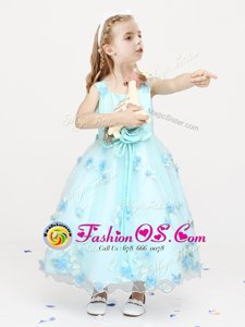 Straps Light Blue A-line Appliques and Bowknot and Hand Made Flower Flower Girl Dress Zipper Organza Sleeveless Ankle Length