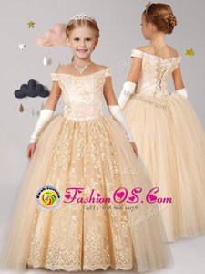 Off the Shoulder Champagne Cap Sleeves Tulle Lace Up Flower Girl Dresses for Party and Quinceanera and Wedding Party