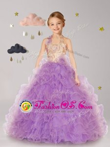 Lilac Organza Lace Up Halter Top Sleeveless Floor Length Flower Girl Dresses Beading and Ruffles and Hand Made Flower