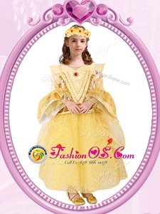 Scoop Gold Zipper Flower Girl Dresses for Less Beading and Sequins Long Sleeves Ankle Length
