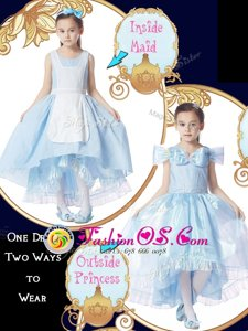 Extravagant Scoop Light Blue Zipper Flower Girl Dresses for Less Bowknot Cap Sleeves High Low