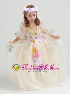 Champagne Tulle Zipper Toddler Flower Girl Dress Half Sleeves Ankle Length Appliques and Hand Made Flower