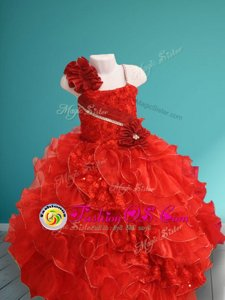Best Selling Red Lace Up Flower Girl Dresses for Less Beading and Ruffles and Hand Made Flower Sleeveless Floor Length