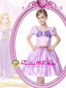 Short Sleeves Knee Length Beading and Bowknot Clasp Handle Flower Girl Dress with Lilac