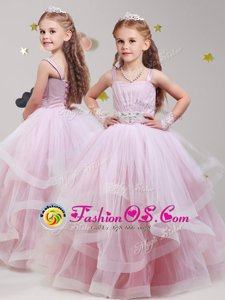 Glamorous Baby Pink Flower Girl Dress Party and Quinceanera and Wedding Party and For with Beading and Ruffles Straps Sleeveless Lace Up