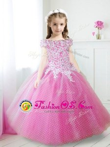 Luxury Off The Shoulder Cap Sleeves Zipper Flower Girl Dress Hot Pink Tulle
