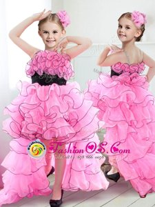 Suitable High Low Rose Pink Toddler Flower Girl Dress Straps Sleeveless Zipper
