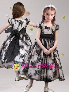 Lace Black Flower Girl Dresses for Less Party and Quinceanera and Wedding Party and For with Sashes|ribbons Scoop Short Sleeves Zipper