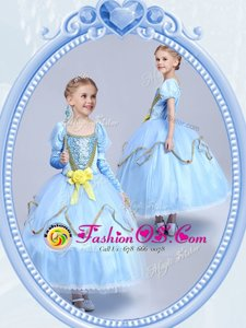 Dazzling Scoop Short Sleeves Side Zipper Tea Length Beading and Sequins and Hand Made Flower Toddler Flower Girl Dress