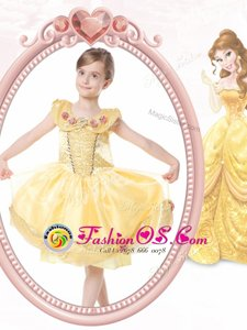 Wonderful Ball Gowns Flower Girl Dress Gold Scoop Organza Sleeveless Knee Length Clasp Handle