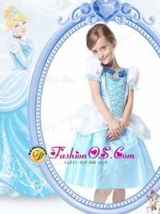 Excellent Scoop Short Sleeves Knee Length Clasp Handle Flower Girl Dress White and Blue and In for Quinceanera and Wedding Party with Beading