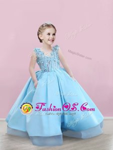 Sexy Satin Sleeveless Floor Length Toddler Flower Girl Dress and Appliques