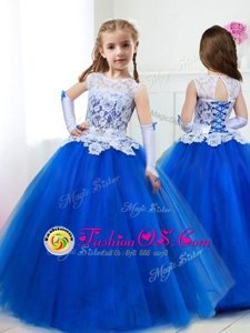 Top Selling Scoop Royal Blue Sleeveless Beading and Lace and Belt Floor Length Toddler Flower Girl Dress