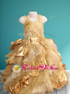 Straps Sleeveless Ruffles and Sequins and Hand Made Flower Lace Up Flower Girl Dress