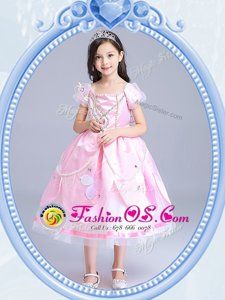 Fashionable Square Baby Pink Short Sleeves Beading and Appliques Tea Length Flower Girl Dresses