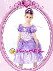 Ball Gowns Flower Girl Dresses Lavender V-neck Organza Short Sleeves Tea Length Clasp Handle