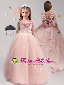 Wonderful Scoop Pink A-line Lace and Appliques and Ruffles Flower Girl Dress Backless Tulle Long Sleeves With Train