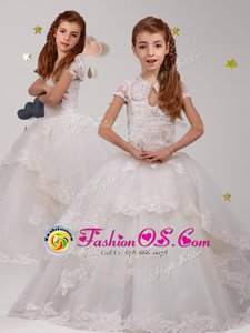 Stylish Scoop Lace Flower Girl Dresses White Backless Short Sleeves With Brush Train