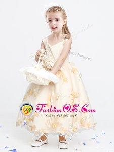 A-line Flower Girl Dress Champagne Straps Organza Sleeveless Ankle Length Zipper