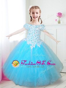 Edgy Aqua Blue Off The Shoulder Neckline Beading and Appliques Toddler Flower Girl Dress Cap Sleeves Zipper