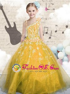 Lovely Appliques Child Pageant Dress Orange Lace Up Sleeveless Floor Length