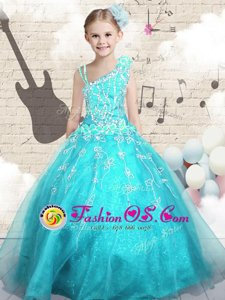 Tulle Sleeveless Floor Length Child Pageant Dress and Appliques