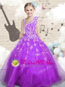 Sleeveless Tulle Floor Length Lace Up Little Girl Pageant Gowns in Orange for with Appliques