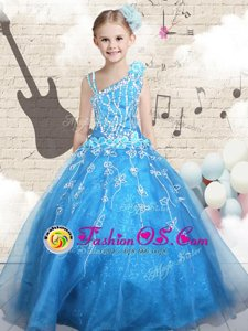 Stunning Floor Length Ball Gowns Sleeveless Baby Blue Kids Formal Wear Lace Up