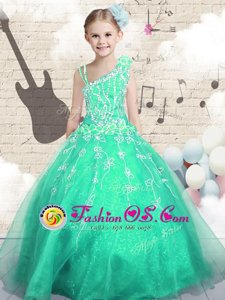 Asymmetric Sleeveless Little Girl Pageant Dress Floor Length Appliques Apple Green Tulle