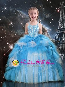 Baby Blue Lace Up Spaghetti Straps Beading and Ruffles Pageant Gowns For Girls Organza Sleeveless