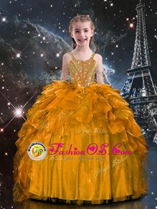 Ball Gowns Girls Pageant Dresses Orange Spaghetti Straps Organza Sleeveless Floor Length Lace Up
