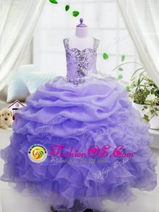 Lavender Organza Zipper Pageant Gowns For Girls Sleeveless Floor Length Beading and Ruffles and Pick Ups