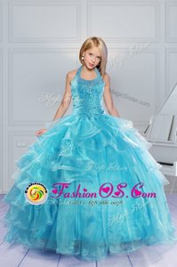 Dramatic Halter Top Aqua Blue Ball Gowns Beading and Ruffles Pageant Gowns For Girls Lace Up Organza Sleeveless Floor Length