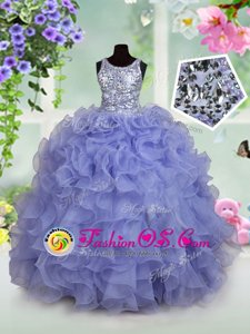 Attractive Gold Spaghetti Straps Neckline Beading and Ruffles and Pick Ups Child Pageant Dress Sleeveless Lace Up