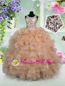 Custom Fit Scoop Peacock Green Sleeveless Beading and Ruffled Layers Floor Length Kids Pageant Dress