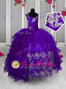 Sleeveless Lace Up Floor Length Beading and Appliques and Pick Ups Pageant Gowns For Girls