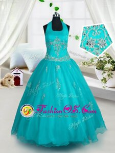 Sweetheart Sleeveless Little Girls Pageant Dress Wholesale Floor Length Beading and Pick Ups Yellow Green Organza