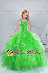 Beauteous Ball Gowns Kids Formal Wear Green Halter Top Organza Sleeveless Floor Length Lace Up