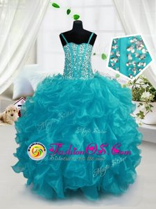 Ball Gowns Child Pageant Dress Baby Blue Halter Top Organza Sleeveless Floor Length Lace Up
