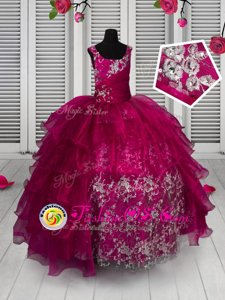 Floor Length Fuchsia Pageant Gowns For Girls Organza Sleeveless Appliques and Ruffled Layers